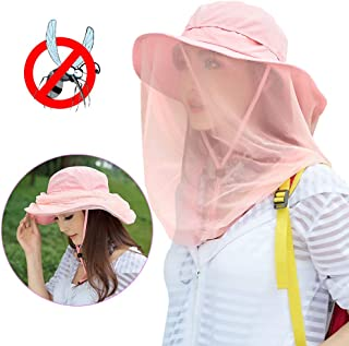 Jackcell Mosquito Head Net Hat, Safari Hat Breathable Sun Hat, Beekeeper Hat with Veil Net Mesh Protection from Bee Mosquito Gnats for Women Outdoor Fishing Gardening Hiking Travel