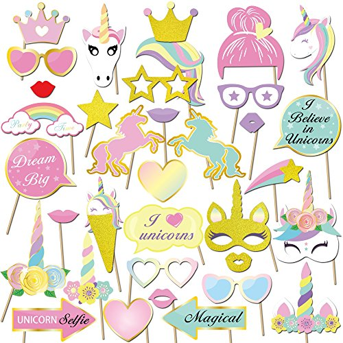 Konsait 35 Stück Fotorequisiten & Fotoaccessoires Einhorn Photo Booth Props DIY Kit Brillen Masken...