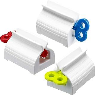 Chengu 3 Pieces Rolling Tube Toothpaste Squeezer Toothpaste Seat Holder Stand Rotate Toothpaste Dispenser for Bathroom (Mi...