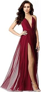 Women's Elegant Prom Dresses deep v-Neckline Back Tulle Sleeveless Long Party Prom Evening Formal Dress