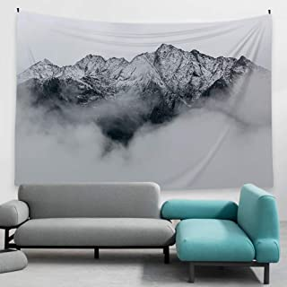Ofat Home Snow Mountain Tapestry Wall Hanging Fabric Wall Decor Modern Nordic Style Art Photo Poster 59''x78.7'', Grey Black White