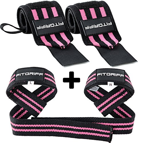 Fitgriff® Polsiere Palestra + Straps Palestra (Set) - Donna & Uomo - Polsini Palestra + Cinghie Sollevamento Pesi - Crossfit, Bodybuilding, Gym, Powerlifting - Black/Pink