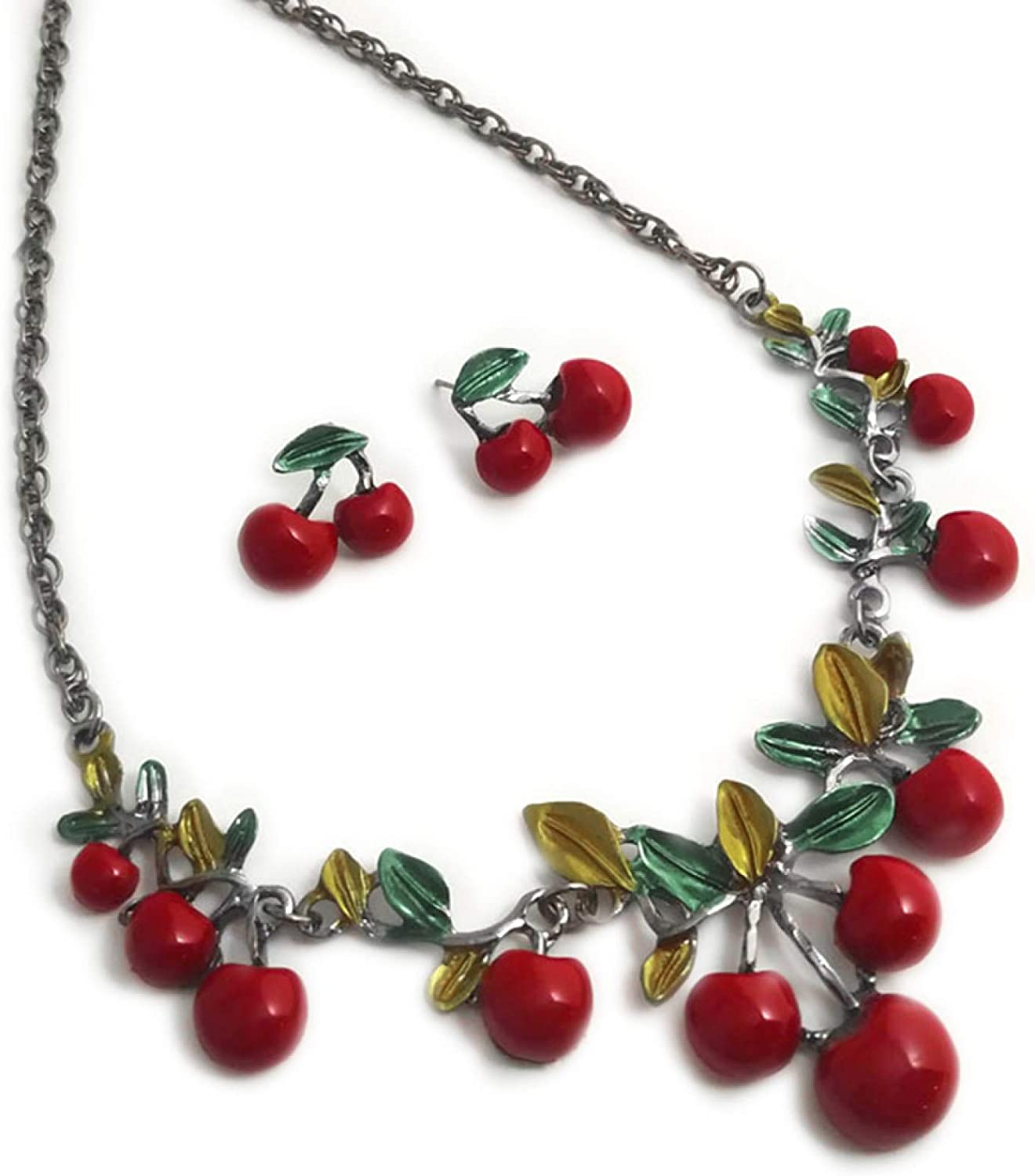 Fashion Red Cherry Clavicle Chain Necklace Ear Stud Set Jewelry Accessory for Women Girls Teens