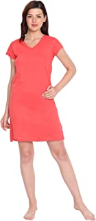 American-Elm Women's Dark Pink Cotton Half Sleeve V-Neck Night Dress