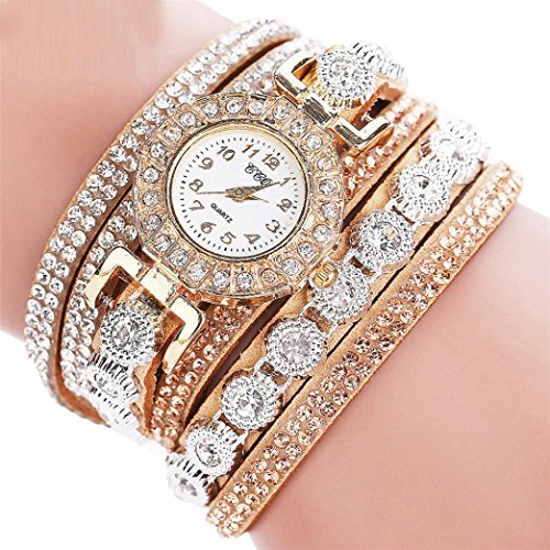 AmyDong Women Fashion Casual Analog Quartz Women Rhinestone Watch Bracelet Watch Circle Bracelet Watch Watch (Beige)