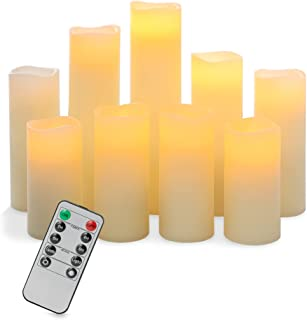 dandelion home Set of Nine Flameless Candles with Remote, Battery Operated LED Pillar Candle Set, Realistic Dancing Flicke...