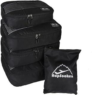 Hopsooken 5点セット トラベルポーチ アレンジケース パッキングキューブ 整理 出張 旅行用 収納ポーチ スーツケース 超軽量 防水 衣類 下着 靴用 [並行輸入品]