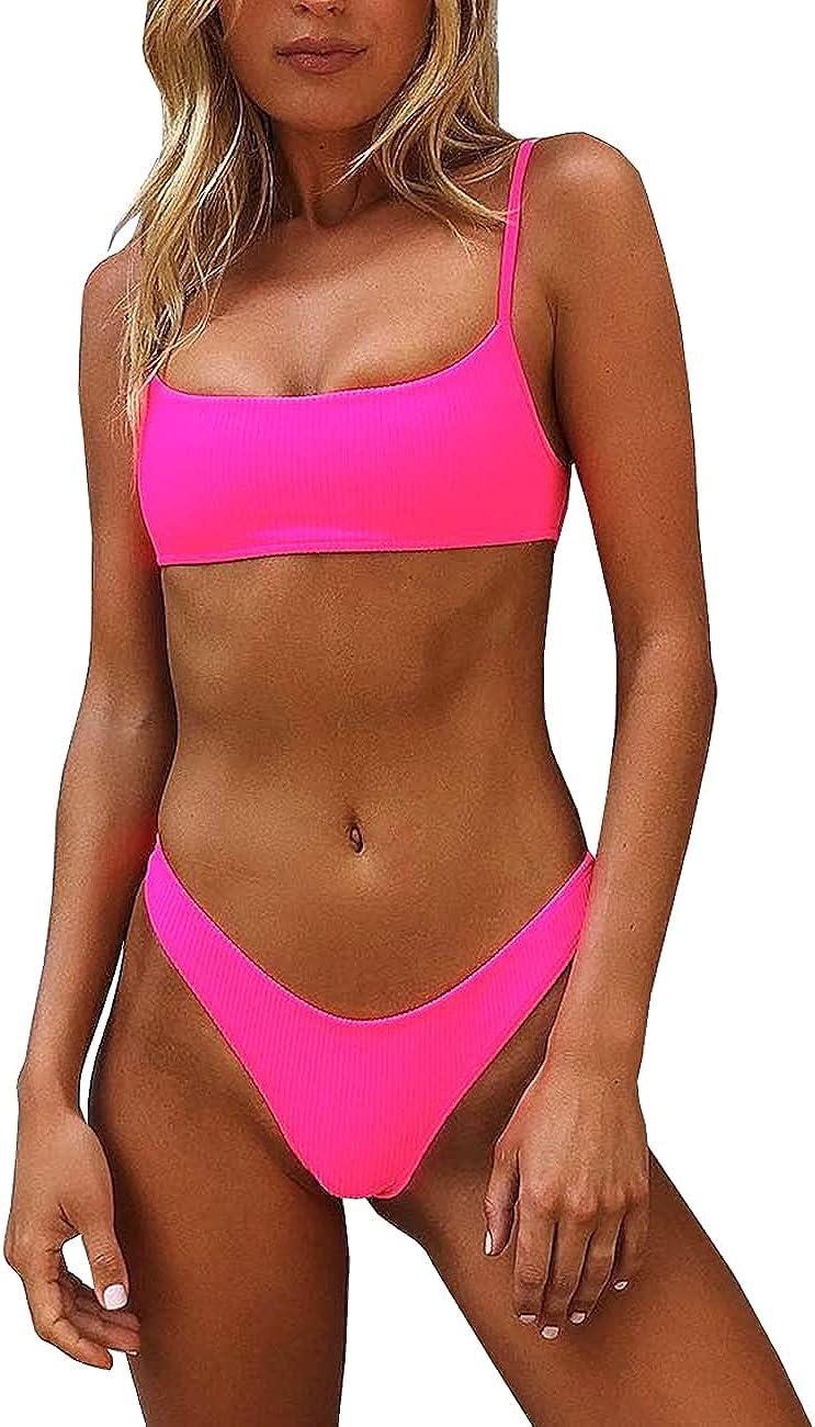 IBIZA VIBE Bikini Set Ribbed Neon Scoop Crop Top High Cut 2 Piec