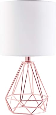 LETRA Rose Gold Table Lamp with Hollowed Out Base, Modern Desk Lamp Metal with White Fabric Shade, Small Table Lamp Bedside N
