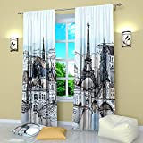 Factory4me Paris Curtains White Blue Beige & Black, Eiffel Tower Cityscape Rod Pocket Room Darkening Drapes 84 Inches Long, Window Curtains for Living Room Bedroom Kitchen Home Office Dining Room