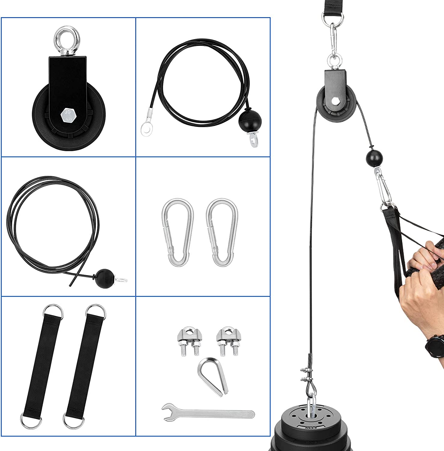 Apoaa Fitness Pulley System, Pulley Cable Attachment with 1.8M/2.3M Fitness Replacemnt Cable 360 Rotation Pulley Hanging Straps and Hoist Buckles for Home Gym Equipment Triceps Pull Down,Biceps Curl