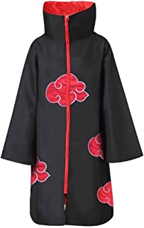 XCJLW Unisex Long Robe Naruto Akatsuki Cloak Cosplay Halloween Costume with Headband