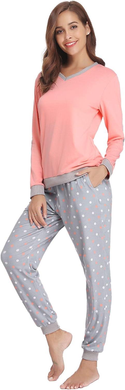 Aiboria Womens Cotton Pajamas Set Long Sleeve Sleepwear Soft Lounge Pjs Set