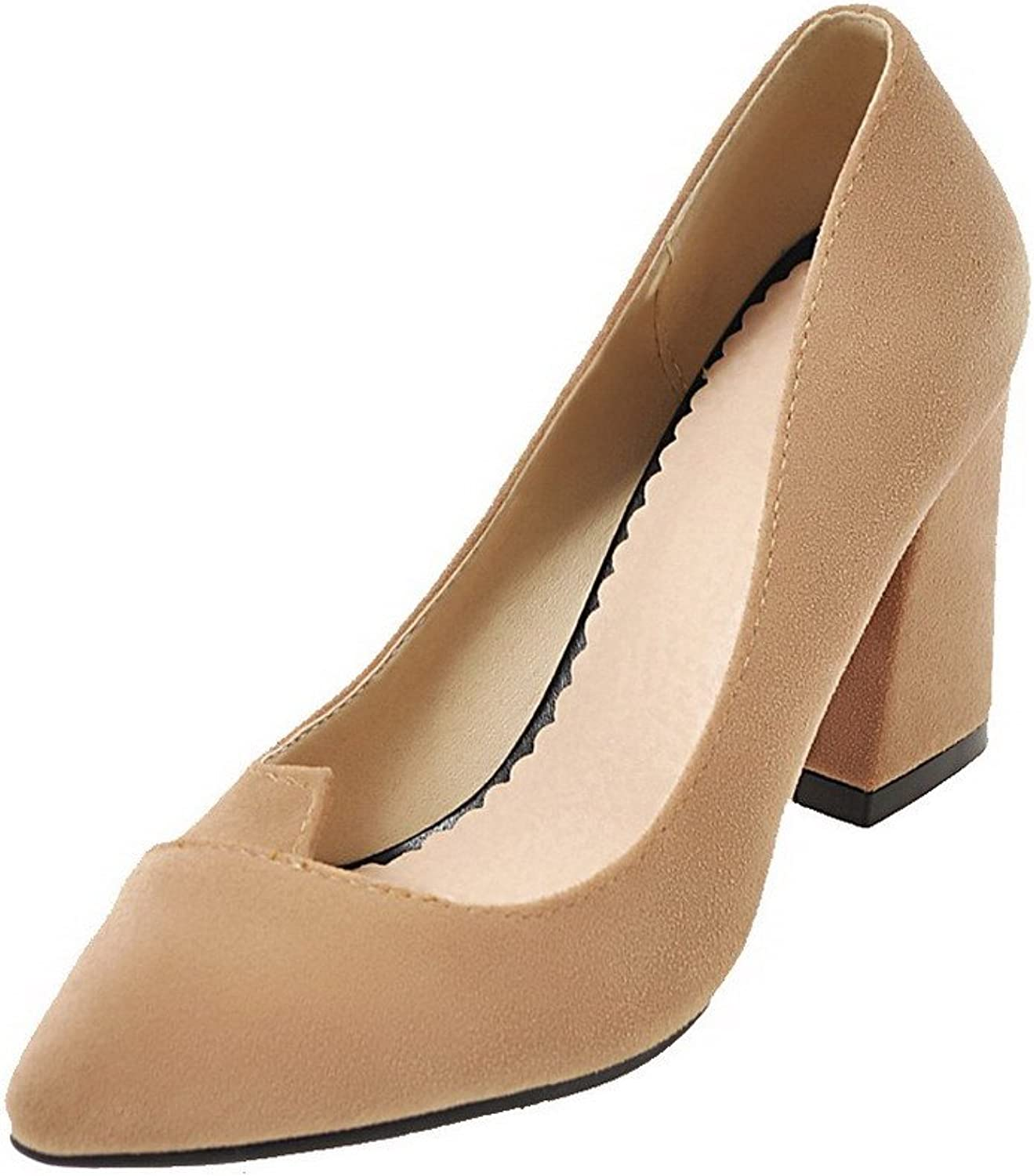 WeiPoot Women's Closed-Toe Pull-On Frosted Solid High-Heels Pumps-shoes