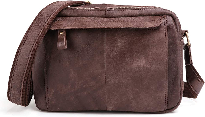 ALMRKS Herren Umhngetasche, lssig, Vintage, Leder Herrentasche, Wildleder, Umhngetasche, Outdoor-Reisetasche