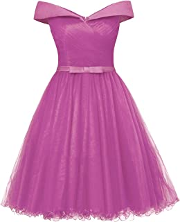 Off The Shoulder Prom Homecoming Dresses Knee Length Cocktail Dress Tulle Gown