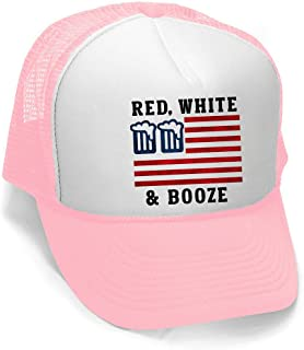 Men's Red White and Booze Hat PLY B921 Pink/White Trucker Hat