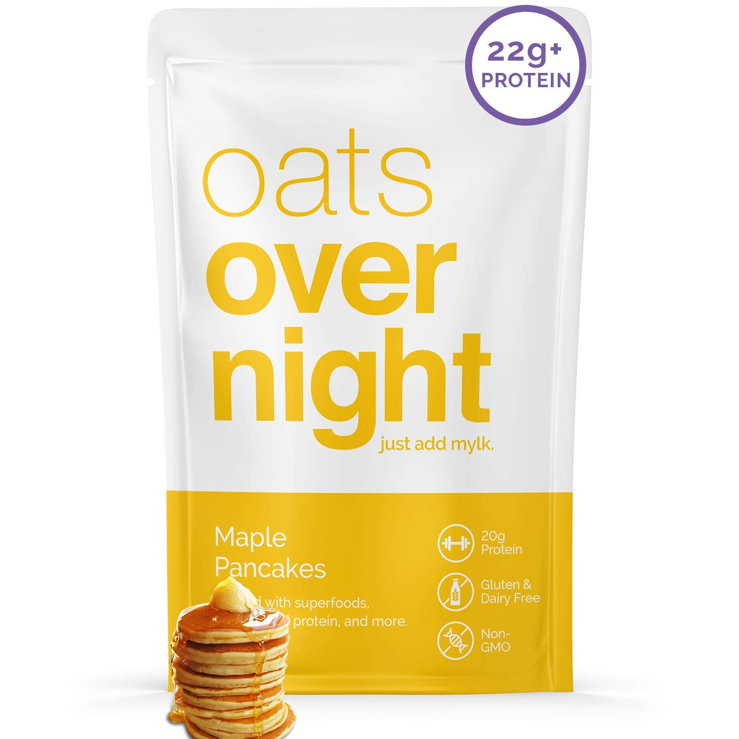 Oats Overnight - Maple Pancakes (8 Meals) Dairy Free, High Protein, Low Sugar Breakfast Shake - Gluten Free, High Fiber, Non GMOOatmeal(2.6oz per meal)