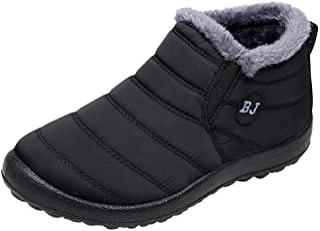Hunzed Women Winter Waterproof Keep Warm Shoes Lady Velvet Boot Flat Snow Boots