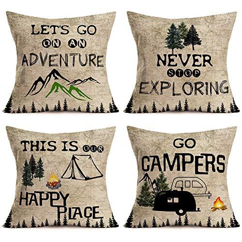 Juego de 4 fundas de almohada Go s Adventure Never Stop Exploring Mountain Pine Trees Camping RV Remolque Campfire Vintage Decorativas Fundas de almohada 45 x 45 cm