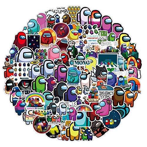 JZLMF AmongUsStickers - 50 pegatinas de vinilo impermeables para botella de agua, portátil, teléfono, coche, monopatín, maleta de viaje, 100 unidades