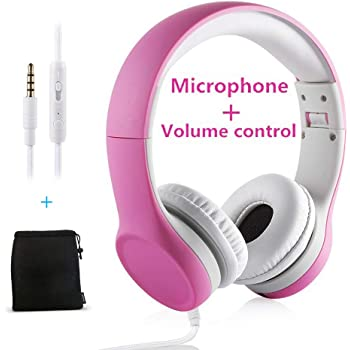 Kids Headphones,Yusonic Volume Limited and Audio Sharing Port,Play for School Boys Girls Children Toddlers Tablet Class(Pink