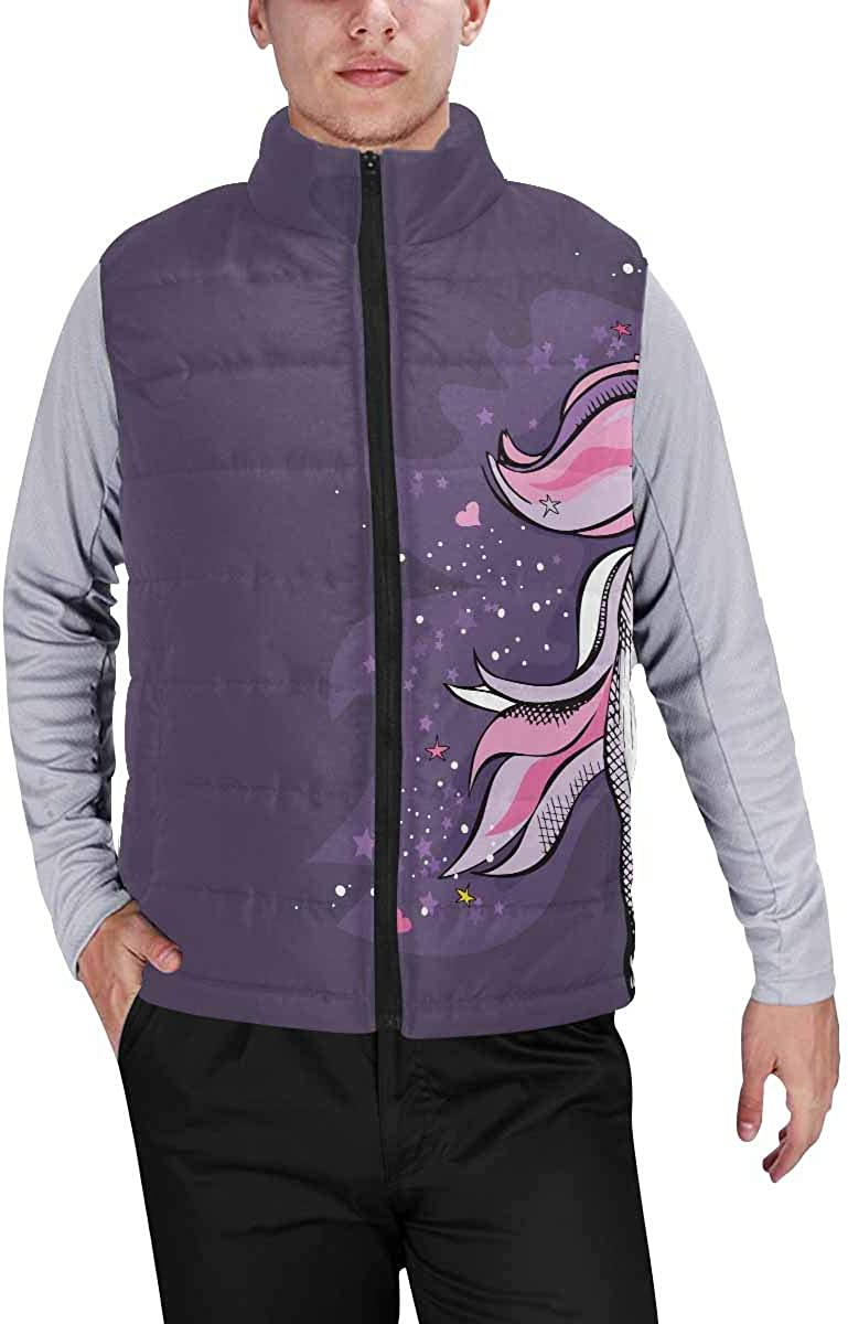 InterestPrint Warm Outdoor Sleeveless Stand Collar Vest for Men Magical Violet Unicorn with a Bright Pink Starry L