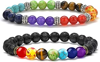 M MOOHAM Gifts for Women Mens Bracelet Chakra - 8mm Natural Lava Rock Stone Chakra Bead Bracelets for Women Men, Stress Relief Aromatherapy Essential Oil Diffuser Bracelets Couples Gifts