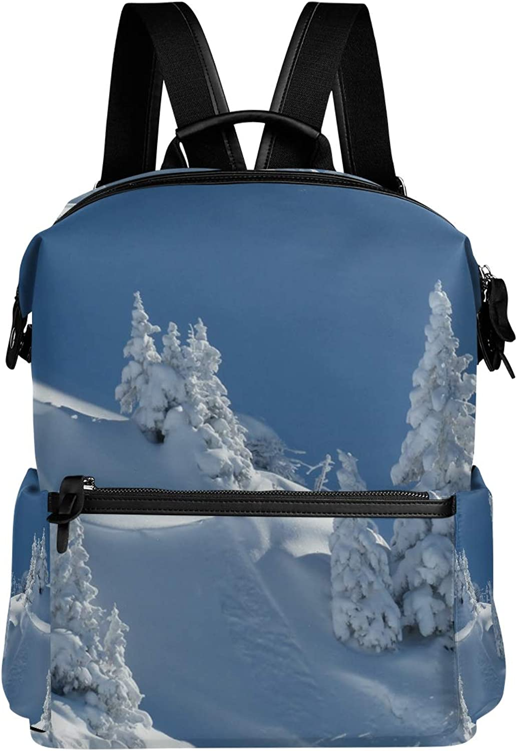 MONTOJ Wintry Mountain Trees Leather Travel Bag Campus Backpack