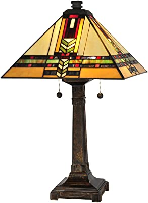 Dale Tiffany TT13061 Tiffany/Mica Two Light Table Lamp from Palo Mission Collection in Bronze/Dark Finish, 15.00 inches, Fieldstone