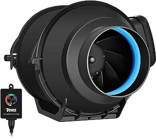 iPower GLFANXINLINEEXPC4 4 Inch 150 CFM Inline Duct Fan with Variable Speed Controller Ventilation, Quiet HVAC Exhaust Blower, Black