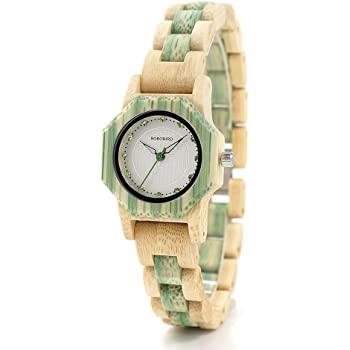 BOBO BIRD女性の女の子木製の腕時計ダイヤモンドダイヤルクォーツ時計ギフトボックス (グリーン)