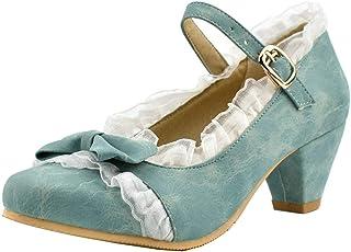 LOVOUO Femme Lolita Mary Jane Vintage Escarpins Talon Bloc Carré Moyen Bride Cheville avec Noeud Dentelle Boucle Chaussure...