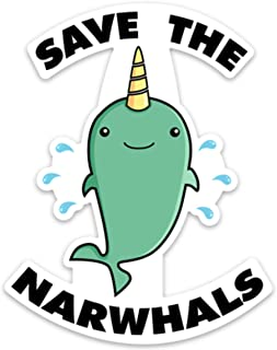 Unicorn Whale Sticker Decal Funny Save The Narwhals 4