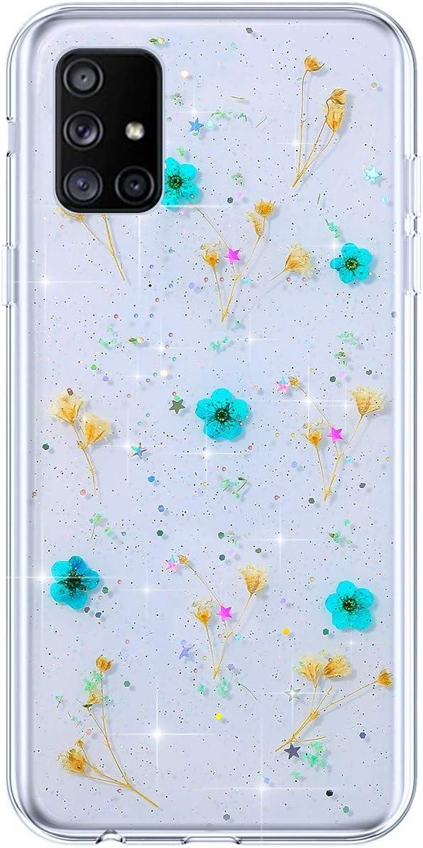JAWSEU Glitter Cover per Samsung Galaxy A51,Custodia Galaxy A51 Trasparente TPU Morbido Silicone Brillantini Bling Shiny Fiori Secchi Cristallo Chiaro Protettivo Bumper Case//Blu Ultrasottile