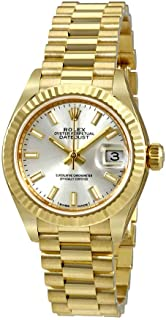 Lady-Datejust 28 Silver Dial 18K Yellow Gold President Automatic Ladies Watch 279178SSP