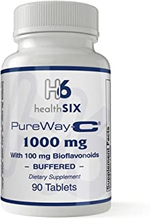 Health SiX PUREWAY-C® | with Bioflavnoids | Unique Form of Vitamin C | Enhances The Absorption & Retention of Vitamin C | 1000 Mg | 90 Tablets