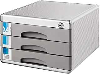 KANJJ-YU Armoire de bureau à 3 étages avec tiroir pour rangement de documents et de données - Couleur : argenté - Dimensio...