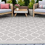 Gray Water Resistant Jute Large Indoor Outdoor Rug 8x10 for Patio - Garden Deck Entry Porch Entryway Outside Waterproof Outdoor Carpet Clearance, Camping Area Alfombras para Exteriores