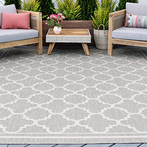Gray Water Resistant Jute Large Indoor Outdoor Rug 8x10 for Patio - Grey Garden Deck Entry Porch Entryway Outside Area Rug - Waterproof 8x10 Outdoor Rugs Carpet Clearance, Alfombras para Exteriores