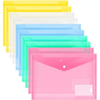 MILOLO Plastic Envelopes Poly Envelopes, 10 Pack US Letter A4 Size Transparent File Folders with Label Pocket, Snap Closure, Clear Filing Envelopes for School/Home/Work/Office, Assorted Colors