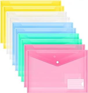 MILOLO Plastic Envelopes Poly Envelopes, 10 Pack US Letter A4 Size Transparent File Folders with Label Pocket, Snap Closur...