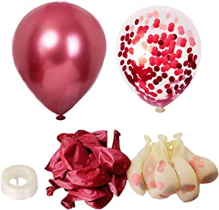 70pcs Chrome Metallic Red Balloons & Confetti Red Balloons 12Inch Thick Metallic Latex Balloons For Party Decorations Baby...