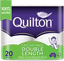 Quilton 3 Ply Double Length Toilet Tissue (360 Sheets per Roll, 11cm x 10cm), Pack of 20 rolls