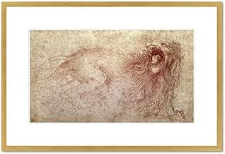 Sketch of a roaring lion (red chalk on paper) by Leonardo da Vinci, . Framed Art Print