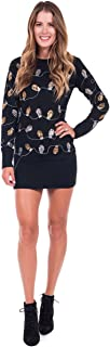 Women's Christmas Lights Ugly Sweater Dress - Black Tacky Sweater Dress