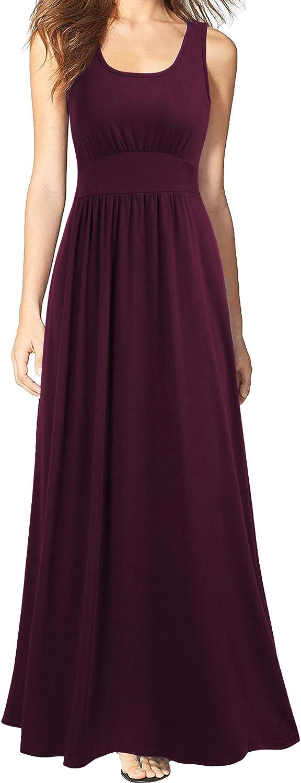 WOOSEA Women Sleeveless Scoop Neck Loose Plain Long Maxi Casual Dress