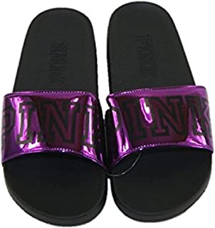 Pink Single Strap Slide Sandals Small 5-6 Metallic Purple