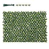 Sekey Seto Artificial Valla de JardíN de Cobertura con Plantas, CelosíA de Valla RetráCtil de PVC, Adecuado para Balcones, DecoracióN de Jardines Interiores, con Hojas de PE, 1x2m, Verde