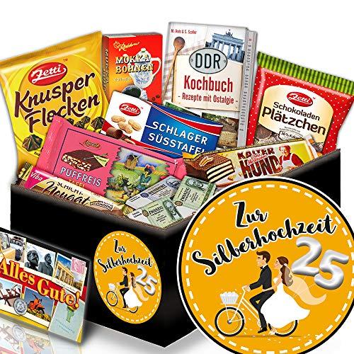 Zur Silberhochzeit + Silberhochzeit Geschenkkorb + Schoko DDR Geschenkbox
